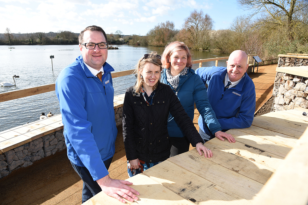 Grundon Sand & Gravel's, Andrew Moore, Area Sales Representative and Pete Moss, Sales Manager, joined BBOWT's Laura Pepper, Head of Development and Liz Shearer, Head of People Engagement, to celebrate the opening of the new waterfront redevelopment