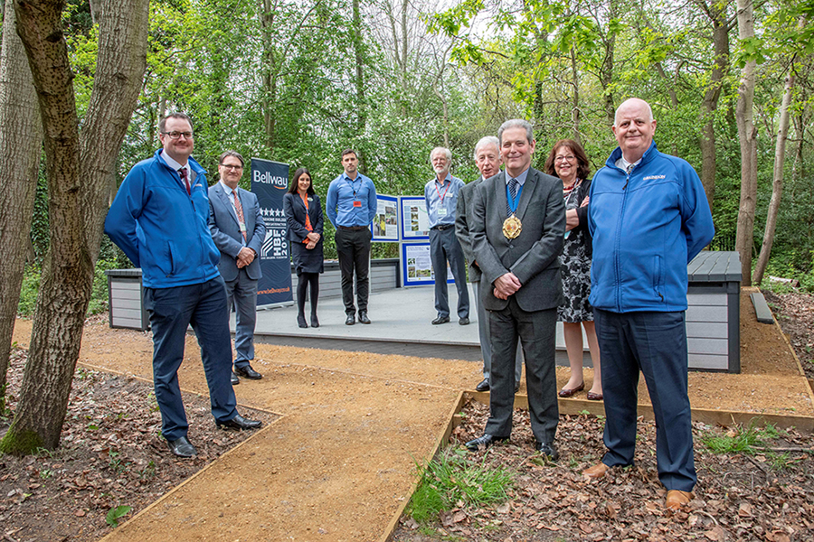 The opening of the outdoor classroom at Guillemont Junior School, attended by Andrew Moore, Area Sales Representative (left) and Pete Moss, Sales Manager (right) from Grundon Sand & Gravel with Stephen Masterson, Mayor of Rushmoor.